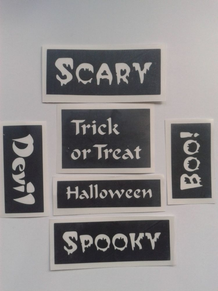 20 X Halloween Word Stencils For Window Decoration 6 7 5